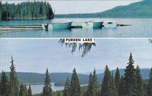 2-Views of Purden Lake, Row Boats, British Columbia, Canada, 40-60s