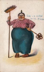 Misoginism comic humour early postcard fat ugly housemaid woman mother-in-law