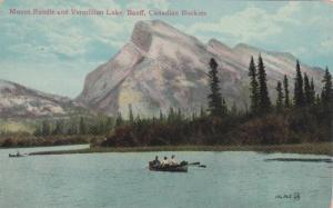 Row boating on the lake, Mount Rundle and Vermillion Lake, Banff, Canadian Ro...