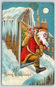 Christmas~Old Style Santa Exits Dormer Window~Candle Tree~Full Moon~HI Robbins