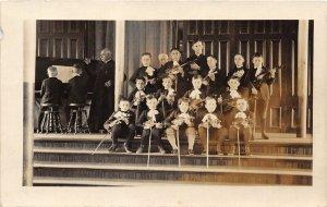 H8/ Interesting RPPC Postcard Canada c1910 Kids Orchestra Violins Teacher4