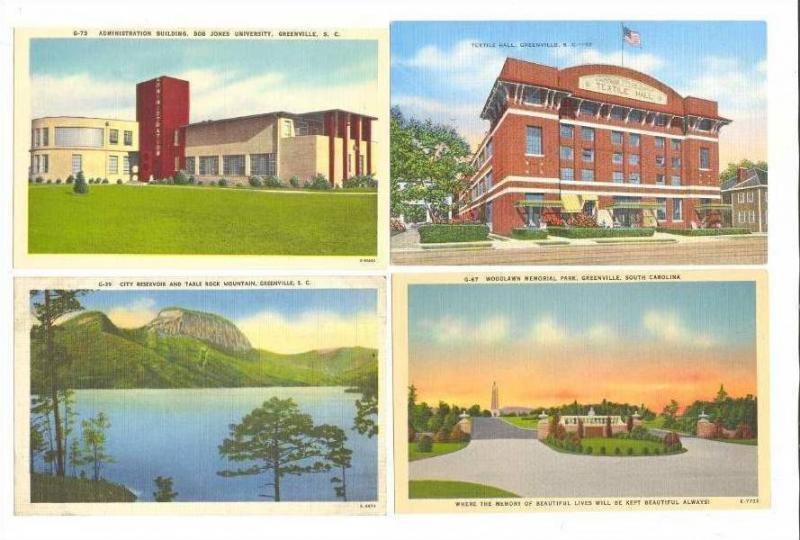 4 Postcards, Greenville, South Carolina, 30-40s #5