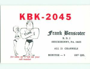 risque SEXY GIRL - QSL CB HAM RADIO CARD Shickshinny Pennsylvania PA t9434