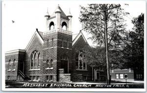 Newton Falls, Ohio RPPC Photo Postcard METHODIST EPISCOPAL CHURCH Building View