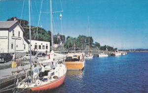 MANITOULIN ISLAND, Ontario, Canada; View at Little Current, Sail Boat, 40-60s