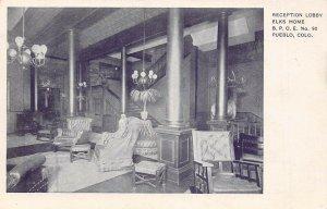 LP20 Pueblo   Colorado Vintage Postcard Elks Home Reception Lobby
