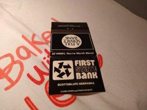 Vintage First State Bank, Scottsbluff, Nebraska Matchbook Cover