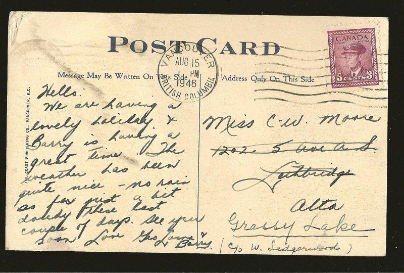 Postmarked 1946 Vancouver BC Lost Lagoon Bridge Stanley Park Color Postcard