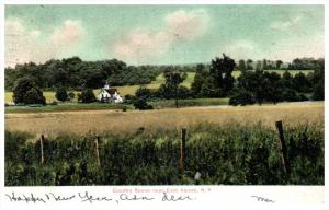 4936  NY East Aurora 1906  Country Church Panorama View