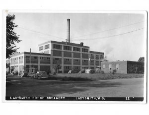 RPPC Ladysmith C0-OP Creamery Ladysmith  Wisconsin 1940s Cars