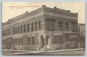Marcus Iowa~Barnes Bank Block~Carey Bros Publisher~1909 B&W Postcard