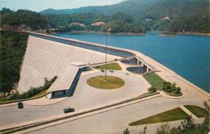 Fontana Dam North Carolina~Dam & Observation Bldg~Circle Drive~1962 Postcard