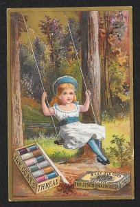VICTORIAN TRADE CARD JP Coats Thread Pretty Girl in White Dress Swings at Tree