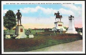 Buford, Reynolds & Halls 2nd Maine Battery Monuments Gettysburg Unused c1920s