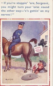 Donald McGill. Police on horse.Man at work Humorous D.Constance PC # 1632