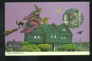 SALEM MASSACHUSETTS WITCH FLYING ON BROOM BLACK CAT VINTAGE POSTCARD MASS.
