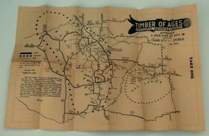 Vintage 1949 Timber of Ages Map, Petrtified Forest Black Hills of South Dakota