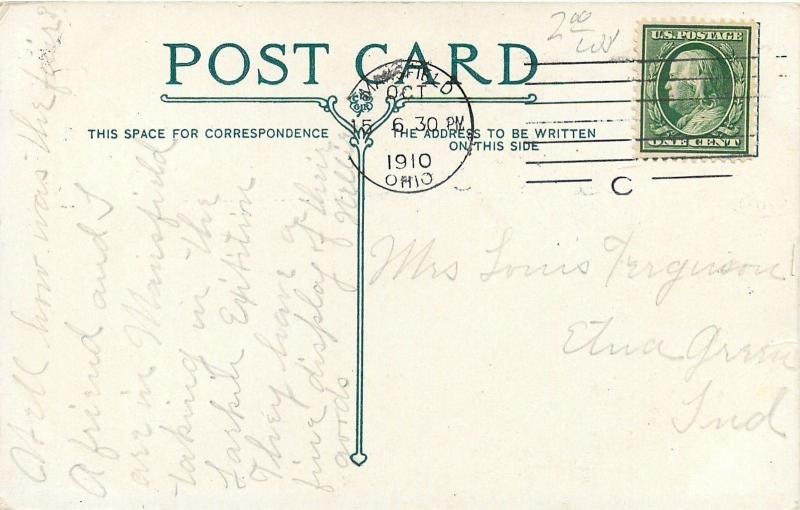 Mansfield Ohio~Southern Hotel~Delivery Wagon~Stores~1910 Postcard