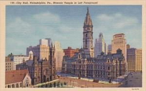 City Hall Masonic Temple In Left Foreground Philadelphia Pennsylvania