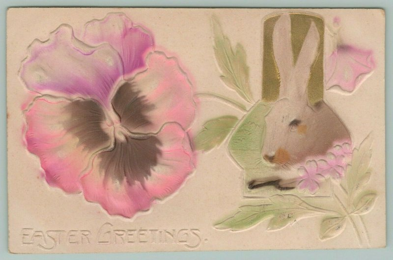 Easter~Bunny Rabbit in Keyhole~Lavender Pink Pansy~Gold Embossed~MAB Airbrushed