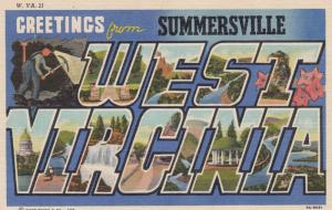 Large Letter WEST VIRGINIA w/ SUMMERSVILLE Overprint, 30-40s