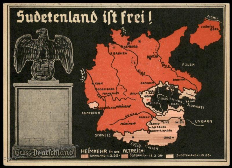 3rd Reich Germany 1938 Karlsbad Sudetenland Map Annexation ... on