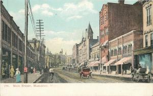 Marlboro Massachusetts~Main Street Auto, Buggy & Bicycle~Pedestrians~1906 PC