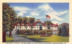 Mountainhome Pennsylvania~Poconos~Onawa Lodge Hotel~1958 Linen Postcard