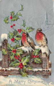 Christmas~Red Breast Robins on Snowy Fence~Village~Silver Back Emboss~1908 IPCC