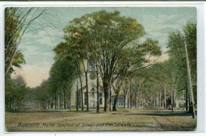 Silver & Elm Street Junction Waterville Maine 1910c postcard