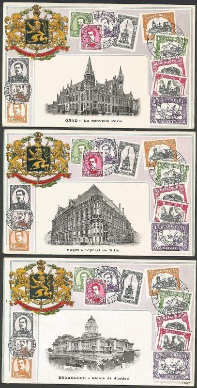 Stamps of BELGIUM embossed postcard with Arms & scenes (3)