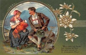 German Couple With Baby~Swiss Alpine Mountains~Art Nouveau Edelweiss~Gold Emboss