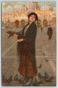 Italian Artist Signed~Lovely Lady Feeds Pigeons~Venetian Shawl~Rev Stampa N6354