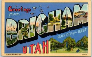 1940s BRIGHAM Utah Large Letter Postcard Peach City of the West Curteich Linen