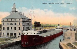 Mich. Soo, leaving Poe Lock, Modern Freighter, Ship Steamer George W. Perkins