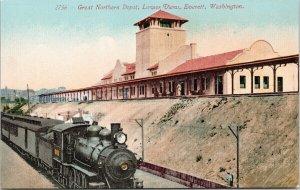 Everett WA Great Northern Depot Train Railway Station Unused Postcard F81