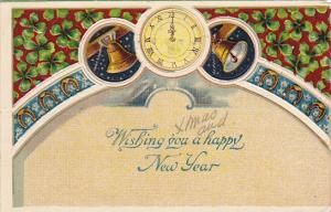 New Year Greetings With Clock and Gold Bells 1907