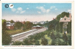 Vintage Postcard, Birds Eye View of the Train Depot Princeton New Jersey 1930s