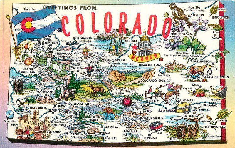 Colorado 1950s Map Attractions Tichnor large letters postcard 2209 ...