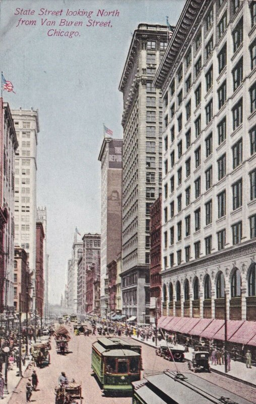 CHICAGO, Illinois, PU-1915; State Street looking North from Van Buren Street
