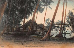 Singapore Malay Fishing Village Boats Postcard
