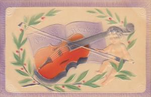 Valentine's Day Cupid Playing Violin Embossed