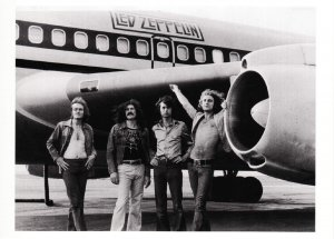 Led Zeppelin Band and Airplane The Starship Boeing 720 in 1973 Modern Postcard