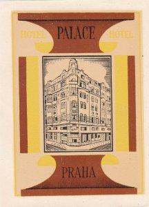 Czechoslovakia Praha Palace Hotel Vintage Luggage Label sk4375