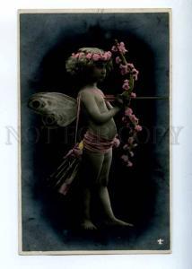 227015 Nude FAIRY Elf Girl CUPID Archer Vintage PHOTO tinted
