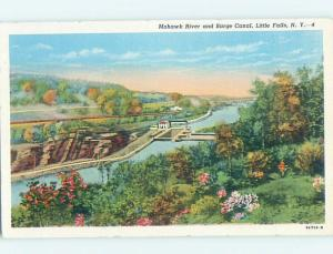 Unused Linen POSTCARD FROM Little Falls New York NY HM9144