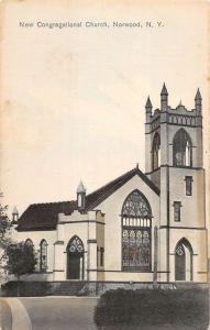 Norwood New York New Congregational Church Street View Antique Postcard K27418