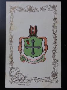 Somerset: ABBEY OF GLASTONBURY - Heraldic Coat of Arms c1905 - Pub by Ja-Ja
