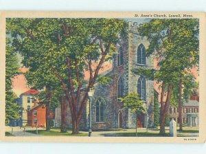 Linen CHURCH SCENE Lowell - Near Boston Massachusetts MA AD1063