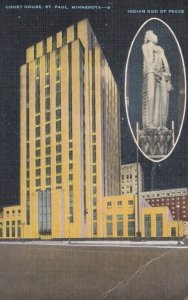 ST. PAUL, Minnesota, 1930-40s; Court House, Inset Statue Indian God of Peace